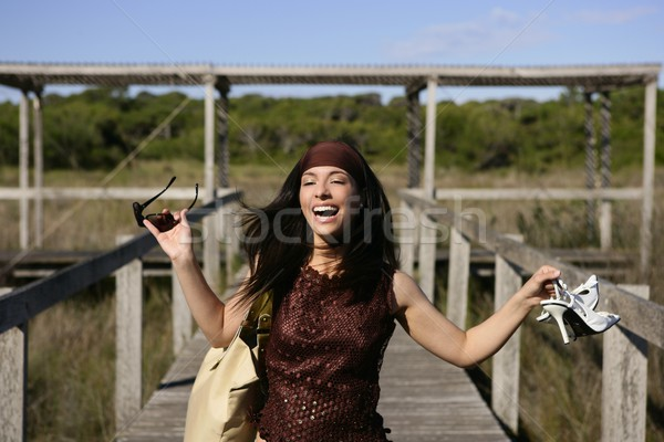 Stock photo: beautiful woman, tourist running stressed