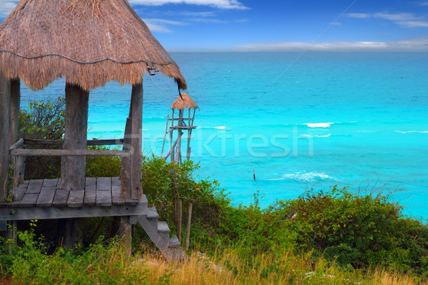 Stock photo: Caribbean zip line tyrolean turquoise sea