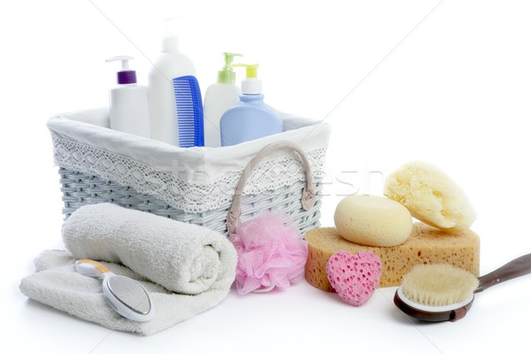 Stock photo: Bath toiletries basket with shower gel