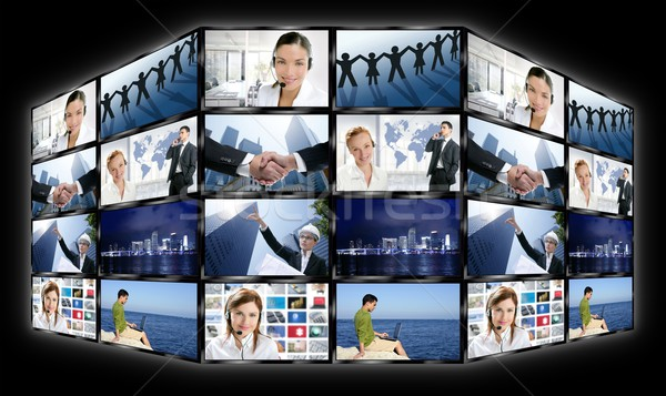 Black frame television multiple screen wall with business concepts