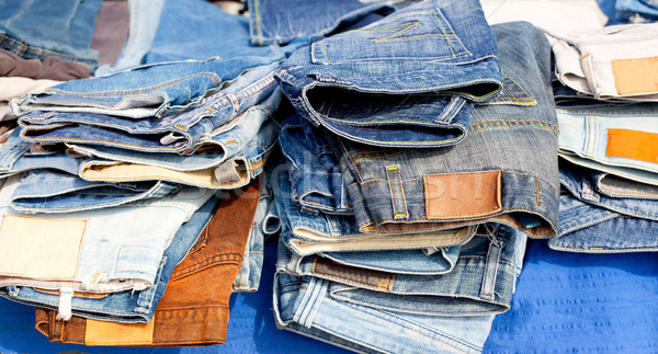 Stock photo: Blue jeans denim fashion pants mixed stacked