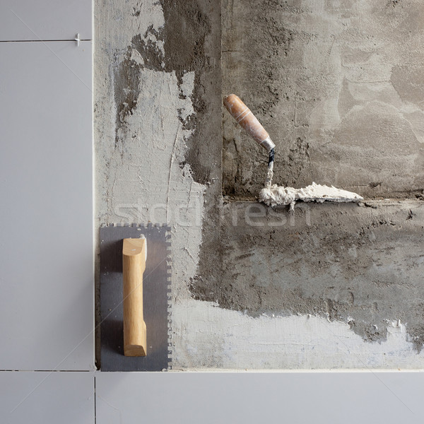 Stock photo: construction tools notched trowel with mortar