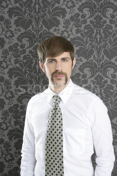 Stock photo: businessman retro mustache over gray wallpaper