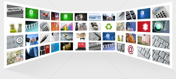 Stock photo: Big Panel of TV screen internet business