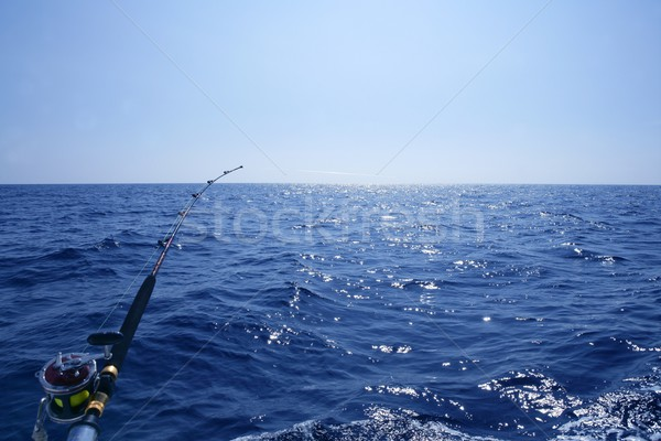 Stock photo: Fishing on the boat with trolling rod and reel.
