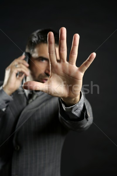 Stock photo: Angry businessman saying stop, hand