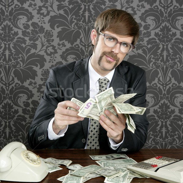 Stock photo: businessman nerd accountant dollar notes