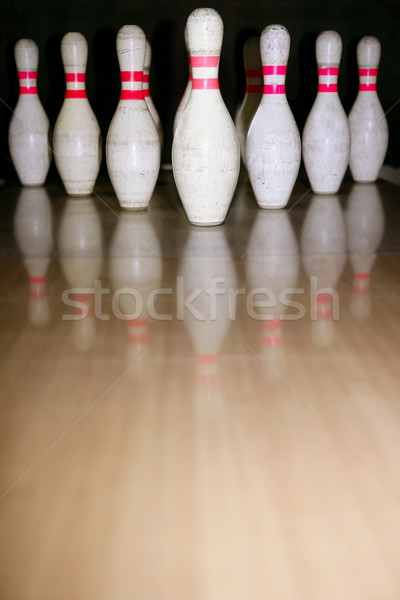 Stock photo: Bowling bolus row reflexion on wooden floor
