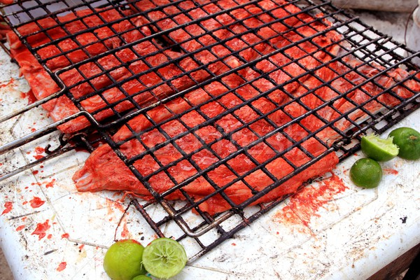 Stock photo: grilled fish fillet red achiote sauce tikinchik Mayan