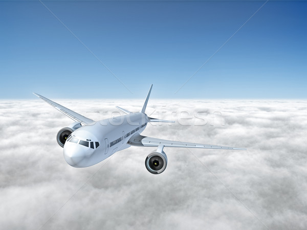 Stock photo: airplane above clouds
