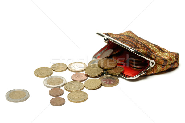 Stock photo: Purse and euro coins isolated on white