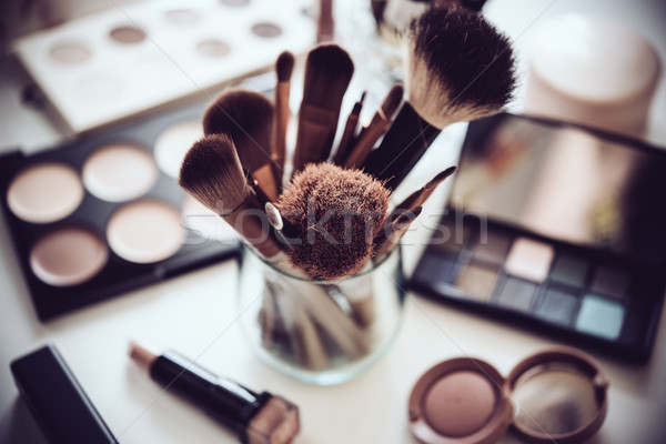 Stock photo: Professional makeup brushes and tools, make-up products set