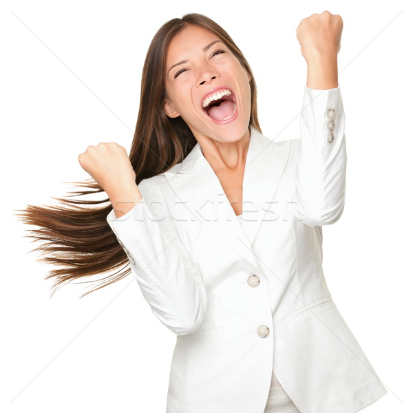 Stock photo: Happy winner - success business woman