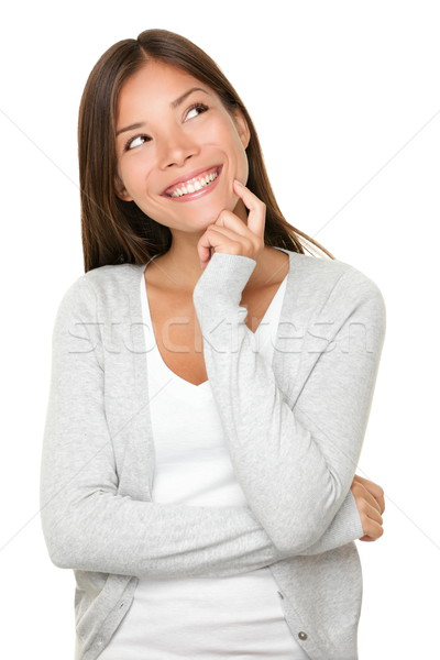 Stock photo: Asian woman thinking