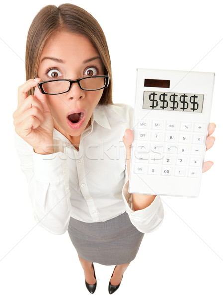Stock photo: Business woman accountant shocked