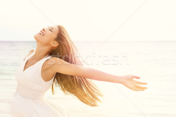 Stock photo: Freedom woman in free happiness bliss on beach
