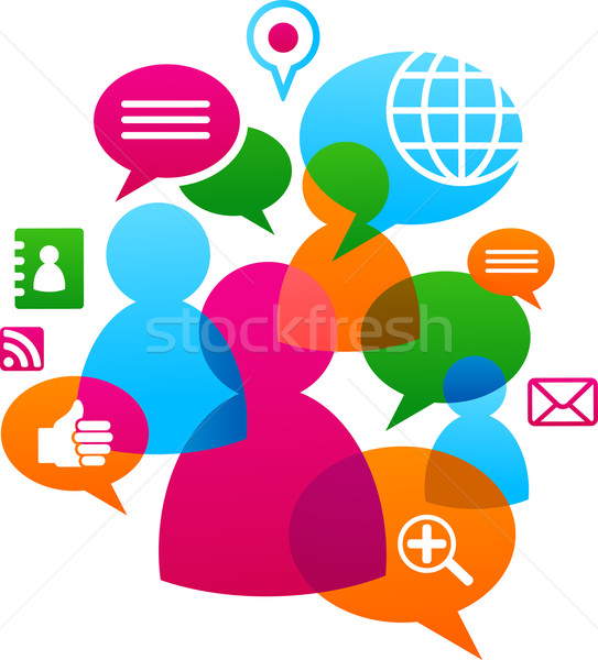 Stock photo: Social network backgound with media icons