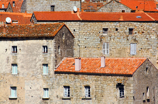 Stock photo: Stone houses, Corsica