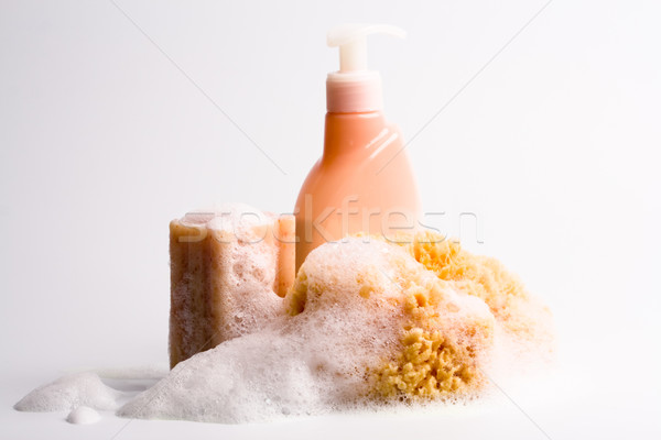 Stock photo: soap, natural sponge and shower gel