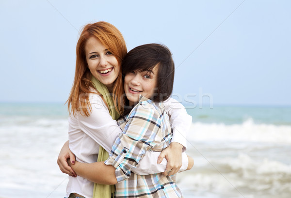 Stock photo: Two girls at outdoor near sea