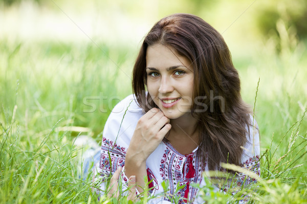 1869299 stock photo slav teen girl at green meadow in national ukrainian clothing happy vagina pearls Healthy Household: Sex Lubes and Happy Vagina Pearls