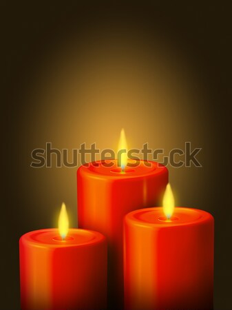 Stock photo: 3 Red candles