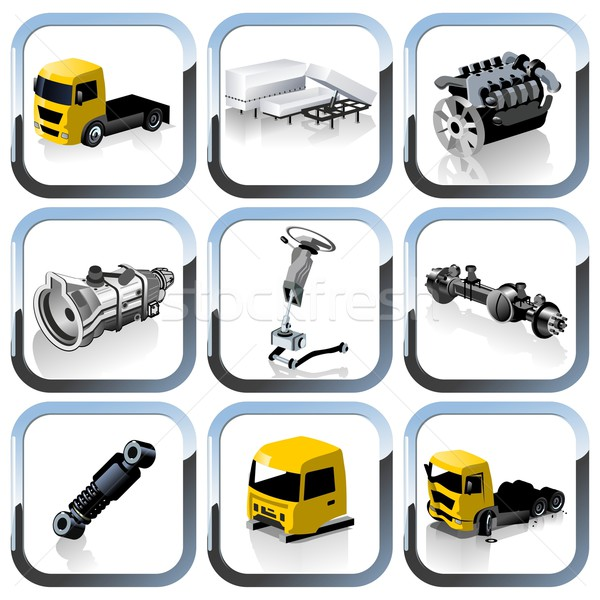 Stock photo: Vector truck spares icons set