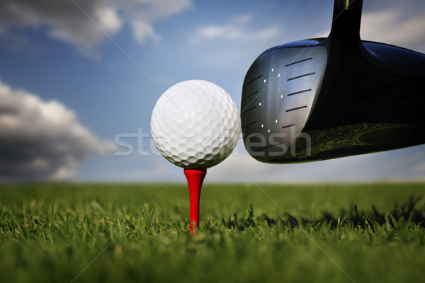 Stock photo: Golf club and ball in grass