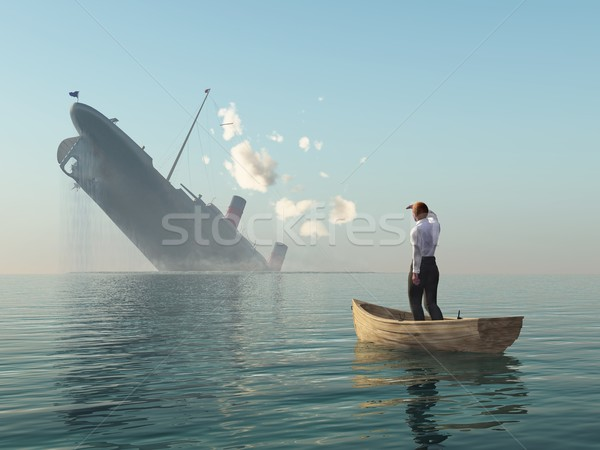 Stock photo: rescued man in boat looking on shipwreck