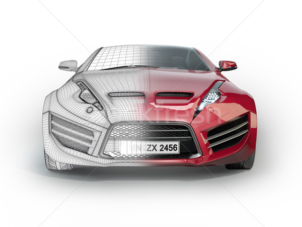 Red sports car isolated on white background. Non branded ...