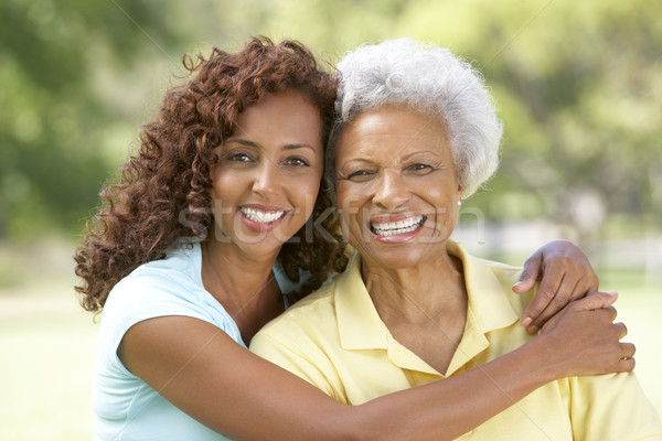 Stock photo: Senior Woman With Adult Daughter In Park
