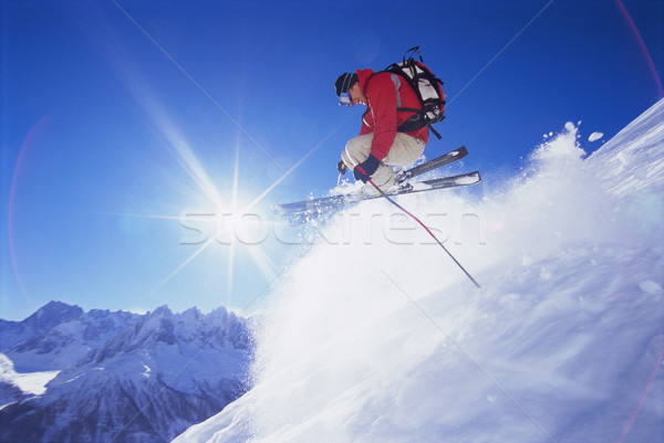 Stock photo: Young man skiing