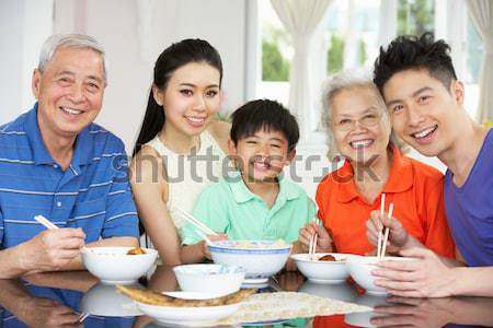 Stock photo: Family Having Lunch Together At The Mall