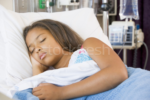 Stock photo: Young Girl Sleeping In Hospital Bed