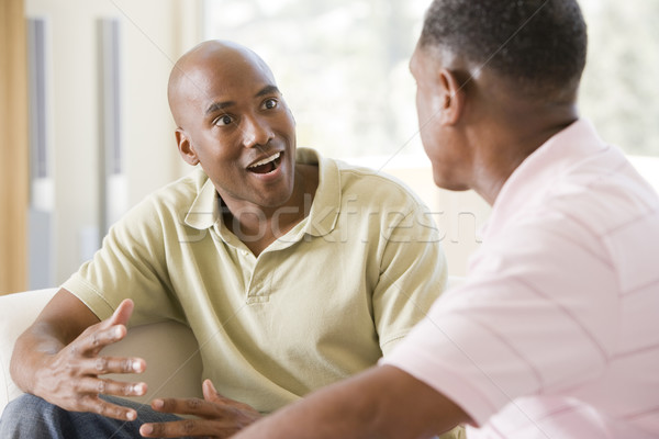 Stock photo: Two men in living room talking and smiling