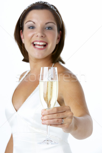 Stock photo: Portrait Of Bride Toasting With Wine Glass