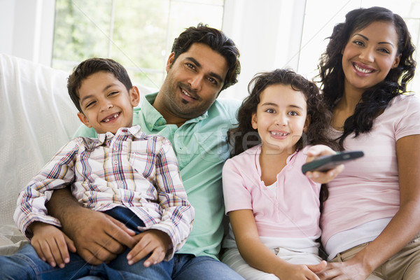 Stock photo: A Middle Eastern family watching television