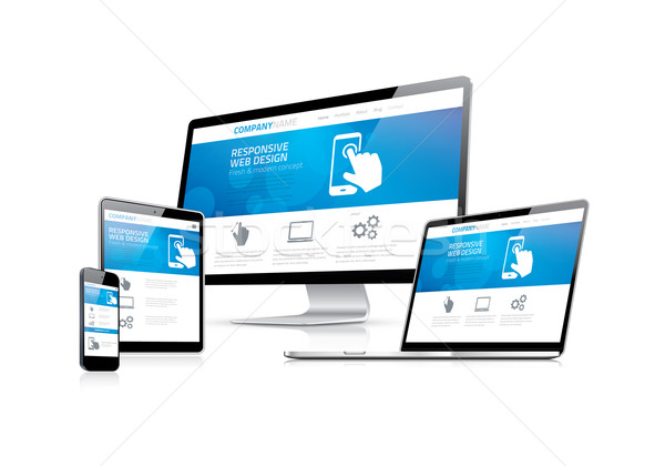 Stock photo: Website coding development with responsive web design concept