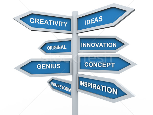 Stock photo: 3d creativity signpost