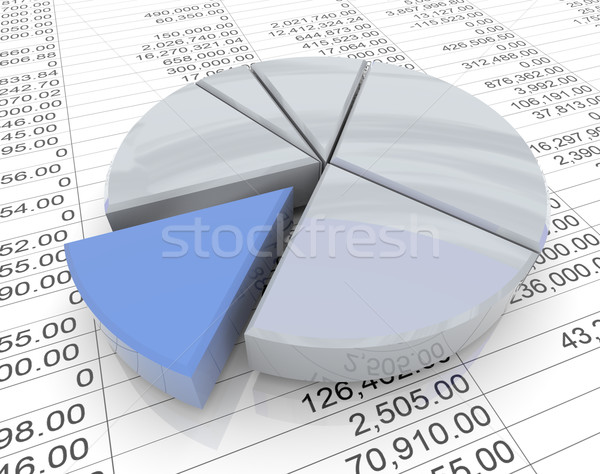 Stock photo: 3d pie chart on sheet