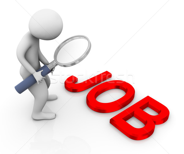 Stock photo: 3d man searching job