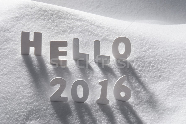 word with these letters white word hello 2016 on snow stock photo 1728