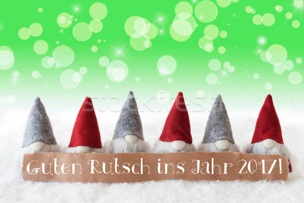 Stock photo: Gnomes, Green Bokeh, Stars, Guten Rutsch 2017 Means New Year