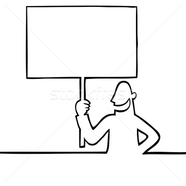 Protest sign cartoon for Scarica clipart