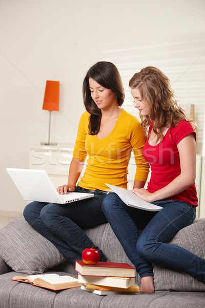 Stock photo: Schoolgirls learning on couch at home