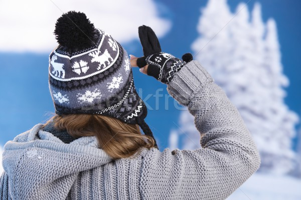 Stock photo: Skier looking to the distance on snowy top