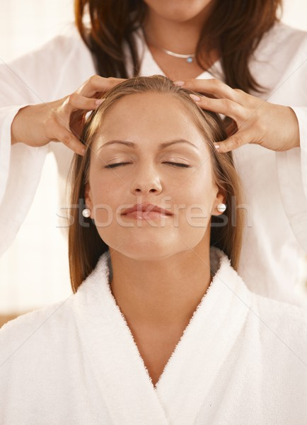 Stock photo: Closeup of head massage