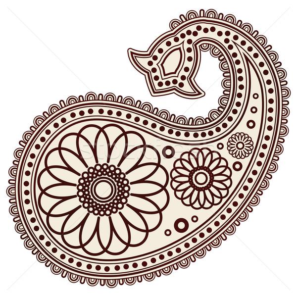 Vector Hand-Drawn Abstract Henna (mehndi) Paisley Doodle