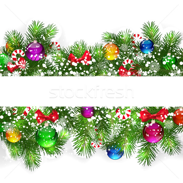 Stock photo: Christmas background with snow-covered branches