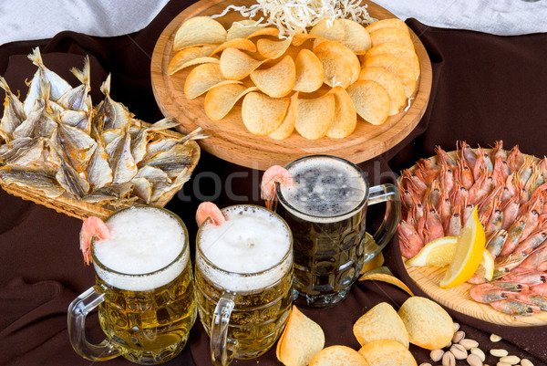 Stock photo: Beer and snacks set